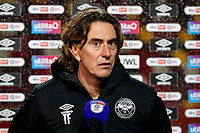 19th December 2020; Brentford Community Stadium, London, England; English Football League Championship Football, Brentford FC versus Reading; Brentford Manager Thomas Frank answering questions from the written press after the match