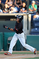 Billy Hamilton #4 of the Bakersfield Blaze bats against the Rancho Cucamonga Quakes at The Epicenter on June 21, 2012 in Rancho Cucamonga, California. Bakersfield defeated Rancho Cucamonga 12-2. (Larry Goren/Four Seam Images)