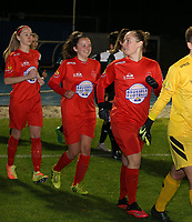 Anouck Cochez of Woluwe (4) and Stefanie Deville of Woluwe (3) walk onto the pitch during a female soccer game between FC Femina White Star Woluwe and Eendracht Aalst on the sixth matchday of the 2020 - 2021 season of Belgian Scooore Womens Super League , friday 6 th of November 2020  in Woluwe , Belgium . PHOTO SPORTPIX.BE | SPP | SEVIL OKTEM