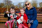 Enjoying their ice cream in the Listowel town park on Saturday, l to r: Shane Hegarty, Amelia Mhóraíain Ní Huigín and Margaret Moran.