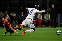 Cesar Azpilicueta of Spain and Paul Pogba of France during the Uefa Nations League final football match between Spain and France at San Siro stadium in Milano (Italy), October 10th, 2021. Photo Andrea Staccioli / Insidefoto