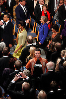 (Dec 10,2009 Oslo,Norway) US President Barack Obama received the Nobel Peace Prize during a ceremony in Oslo Town Hall.  Greenpeace Norway leader Truls Gulowsen displays a campaign message to camera. (leader Norway).©Fredrik Naumann/Felix Features.