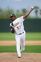 Oakland Athletics minor league pitcher Omar Duran #57 during an instructional league game against the Arizona Diamondbacks at the Papago Park Baseball Complex on October 11, 2012 in Phoenix, Arizona. (Mike Janes/Four Seam Images)