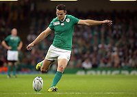 Pictured: Jonathan Sexton of Ireland scores with a kick Saturday 19 September 2015<br /> Re: Rugby World Cup 2015, Ireland v Canada at the Millennium, Stadium, Wales, UK