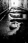 After a rainy day. Water & reflections in a tunnel in Newtown, NSW, Australia