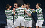 Mark Hill (2L) takes the acclaim for Celtic's second goal