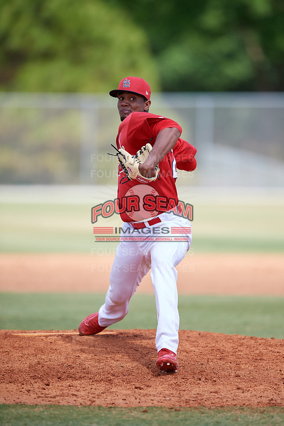 St. Louis Cardinals pitcher Angel Rondon (22) during a Minor League Spring Training game against the Miami Marlins on March 26, 2018 at the Roger Dean Stadium Complex in Jupiter, Florida.  (Mike Janes/Four Seam Images)