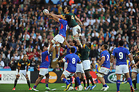 Eben Etzebeth of South Africa succeeds in disrupting TJ Ioane of Samoa's lineout during Match 15 of the Rugby World Cup 2015 between South Africa and Samoa - 26/09/2015 - Villa Park, Birmingham<br /> Mandatory Credit: Rob Munro/Stewart Communications
