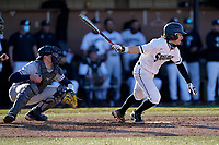 Jack Hennessy (1) of the University of South Carolina Upstate Spartans bats in a game against the University of Toledo Rockets on Friday, February 19, 2021, at Cleveland S. Harley Park in Spartanburg, South Carolina. Upstate won, 14-2. (Tom Priddy/Four Seam Images)