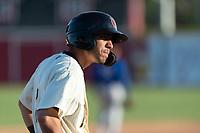 Visalia Rawhide designated hitter Jose Caballero (7) during a California League game against the Rancho Cucamonga Quakes on April 9, 2019 in Visalia, California. Visalia defeated Rancho Cucamonga 8-5. (Zachary Lucy/Four Seam Images)