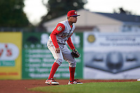 Williamsport Crosscutters shortstop William Cuicas (8) during a game against the Batavia Muckdogs on August 27, 2015 at Dwyer Stadium in Batavia, New York.  Batavia defeated Williamsport 3-2.  (Mike Janes/Four Seam Images)