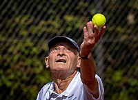 Hilversum, The Netherlands,  August 18, 2020,  Tulip Tennis Center, NKS, National Senior Championships, Men's single 80+ ,  Theo de Waal (NED) <br /> Photo: www.tennisimages.com/Henk Koster