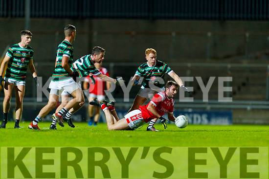 Dan O'Brien, East Kerry Thomas Lenihan and Alan O'Donoghue, St. Brendan's Board during the Kerry County Senior Football Championship Semi-Final match between East Kerry and St Brendan's at Austin Stack Park in Tralee, Kerry.