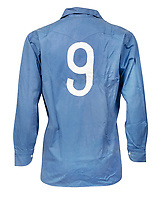 BNPS.co.uk (01202 558833)<br /> Pic: Julien'sAuctions/BNPS<br /> <br /> Pictured: Alfredo Di Stefano Spain National Team Blue Jersey Circa 1950s.<br /> <br /> An epic collection of medals, trophies, shirts and personal items relating to footballing legend Alfredo Di Stefano is being sold by his family for over £1m.<br /> <br /> Many of the awards won by the great goalscorer have, until recently, been on display at the Real Madrid Museum, the club where he played for most of his career.<br /> <br /> The Argentine-born striker is regarded as one of the best players of all-time and is often compared to Cristiano Ronaldo.<br /> <br /> During Di Stafano's time with Real Madrid in the 1950s and '60s, the Spanish giants dominated European football, largely due to his goals and assists.