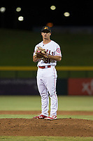Mesa Solar Sox relief pitcher Daniel Procopio (31), of the Los Angeles Angels organization, looks in for the sign during an Arizona Fall League game against the Scottsdale Scorpions at Sloan Park on October 10, 2018 in Mesa, Arizona. Scottsdale defeated Mesa 10-3. (Zachary Lucy/Four Seam Images)