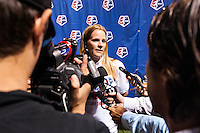Portland Thorns head coach Cindy Parlow Cone is interviewed after the match. The Portland Thorns defeated the Western New York Flash 2-0 during the National Women's Soccer League (NWSL) finals at Sahlen's Stadium in Rochester, NY, on August 31, 2013.