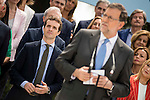 Pablo Casado behind Mariano Rajoy during the presentation of candidates to the Congress of Deputies in Madrid. May 24, 2016. (ALTERPHOTOS/Borja B.Hojas)