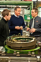 Wednesday 19 February 2014<br /> Pictured: Prime Minister David Cameron talks to factory worker  Tom Griffiths, Factory Director Neil Barnes and MP Stephen Crabb<br /> Re: Prime Minister David Cameron visitingthe  St David Assemblies factory  in St. Davids, Pembrokeshire, Wales