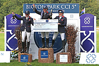 5th September 2021; Bicton Park, East Budleigh Salterton, Budleigh Salterton, United Kingdom: Bicton CCI 5* Equestrian Event; top three riders celebrate their wins. Piggy March, Gemma Tattersall and Pippa Funnell