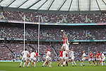 Ian Evans wins the lineout ball for Wales..RBS 6 Nations 2012.England v Wales.Twickenham.25.02.12.Credit: STEVE POPE - Sportingwales