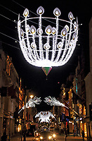London's luxury shopping district, Bond Street, has recently undergone a glittering makeover for the upcoming festive season. The legendary peacock-inspired Bond Street Christmas lights are back this year witharound 250,000 lights in total. London November 25th 2020<br /> <br /> Photo by Keith Mayhew