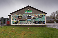 Pictured: A mural in Bettws near Bridgend, Wales, UK. Wednesday 19 February 2020<br /> Re: The effect of the Ford factory closure will have to Bridgend in south Wales, UK.