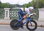 World Champion Filippo Ganna (ITA) Ineos Grenadiers in action during Stage 1 of the 2021 Giro d'Italia, and individual time trial running 8.6km around Turin, Italy. 8th May 2021.  <br /> Picture: LaPresse/Fabio Ferrari   Cyclefile<br /> <br /> All photos usage must carry mandatory copyright credit (© Cyclefile   LaPresse/Fabio Ferrari)