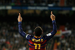 Barcelona´s Neymar Jr celebrates a goal during 2015-16 La Liga match between Real Madrid and Barcelona at Santiago Bernabeu stadium in Madrid, Spain. November 21, 2015. (ALTERPHOTOS/Victor Blanco)