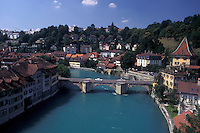 bridge, Berne, Switzerland, Aare River, Bern, Scenic view of The Untertorbrucke, Bern's oldest bridge, crossing the Aare River.