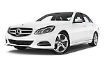 Stock pictures of low aggressive front three quarter view of a 2015 Mercedes Benz Classe E E220 4 Door Sedan 2WD Low Aggressive