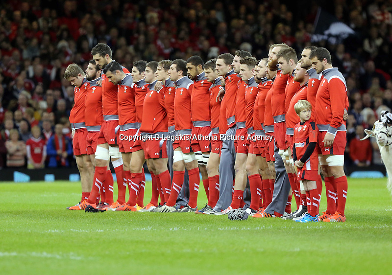 Pictured: Wales players line up before kick off Saturday 22 November 2014<br /> Re: Dove Men Series 2014 rugby, Wales v New Zealand at the Millennium Stadium, Cardiff, south Wales, UK.