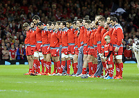 Pictured: Wales players line up before kick off Saturday 22 November 2014<br />