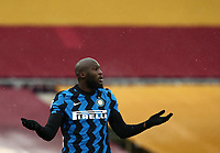 Football, Serie A: AS Roma -  FC Internazionale Milano, Olympic stadium, Rome, January 10, 2021. <br /> Inter's Romelu Lukaku reacts during the Italian Serie A football match between Roma and Inter at Rome's Olympic stadium, on January 10, 2021.  <br /> UPDATE IMAGES PRESS/Isabella Bonotto