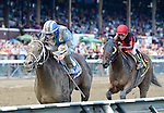 Farhaan (no. 3), ridden by Irad Ortiz Jr. and trained by Kiaran McLaughlin, wins the 2nd running of the ungraded Alydar Stakes for four year olds and upward on August 17, 2014 at Saratoga Race Course in Saratoga Springs, New York.  (Bob Mayberger/Eclipse Sportswire)