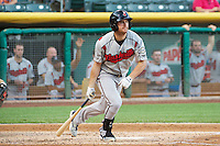 Logan Schafer (9) of the Nashville Sounds at bat against the Salt Lake Bees in Pacific Coast League action at Smith's Ballpark on June 23, 2014 in Salt Lake City, Utah.  (Stephen Smith/Four Seam Images)