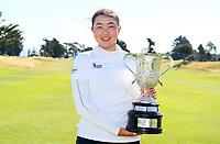 Winner Fiona Xu during the finals of the New Zealand Amateur Golf Championship, Poverty Bay Golf Course, Awapuni Links, Gisborne, Sunday 25 October 2020. Photo: Simon Watts/www.bwmedia.co.nz