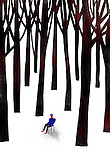 Illustrative image of man surrounded by trees representing confusion