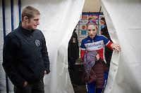 Pauline Ferrand-Prevot (FRA/Rabobank-Liv) leaving the press tent post-race<br /> <br /> Druivencross Overijse 2014