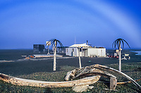 Fog bow over summer camp, Bowhead Whale jaw bone, Point Utqiagvik (Barrow), Arctic, Alaska