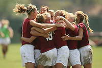 9 September 2007: Shari Summers kicks the game-winning penalty kick during Stanford's 2-1 overtime win over #2 Notre Dame at Buck Shaw Stadium in Santa Clara, CA. Allison Falk, Lizzy George, and Marisa Abegg are pictured.
