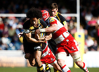 Photo: Richard Lane/Richard Lane Photography. London Wasps v Gloucester Rugby. Aviva Premiership. 01/04/2012. Wasps' Richard Haughton attacks.