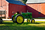 Red barn and vintage John Deere 40 tractor, Route 81, Ct.