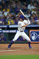 Giovanni DiGiacomo (7) of the LSU Tigers at bat against the Texas Longhorns in game three of the 2020 Shriners Hospitals for Children College Classic at Minute Maid Park on February 28, 2020 in Houston, Texas. The Tigers defeated the Longhorns 4-3. (Brian Westerholt/Four Seam Images)