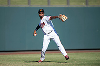 Salt River Rafters left fielder Jaylin Davis (30), of the Minnesota Twins organization, throws to the infield during an Arizona Fall League game against the Glendale Desert Dogs at Salt River Fields at Talking Stick on October 31, 2018 in Scottsdale, Arizona. Glendale defeated Salt River 12-6 in extra innings. (Zachary Lucy/Four Seam Images)