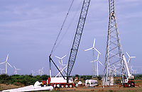 INDIA Tamil Nadu, Muppandal, construction of Vestas wind turbine V47 500 kw, Vestas RBB is a danish indian Joint Venture / INDIEN Tamil Nadu Muppandal, Aufbau einer Windkraftanlage der Firma Vestas RBB , ein daenisch indisches Joint Venture, Windpark am Kap Comorin