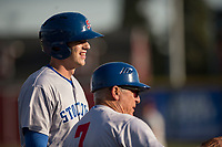 Stockton Ports catcher Jonah Heim (13) talks to manager Rick Magnante (7) while standing on third base during a California League game against the Visalia Rawhide at Visalia Recreation Ballpark on May 8, 2018 in Visalia, California. Stockton defeated Visalia 6-2. (Zachary Lucy/Four Seam Images)