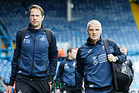 LEEDS, ENGLAND - AUGUST 31: (L-R) Dr. Jez McCluskey, Club Doctor and Assistant First Team Coach Mike Marsh arrive prior to the game during the Sky Bet Championship match between Leeds United and Swansea City at Elland Road on August 31, 2019 in Leeds, England. (Photo by Athena Pictures/Getty Images)