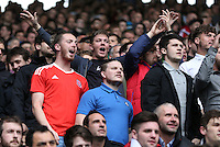Swansea fans during the Barclays Premier League match between Leicester City and Swansea City played at The King Power Stadium, Leicester on April 24th 2016