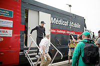 Chris Froome (GBR/SKY) leaving the radiology vehicle at the finish line after a post-race check of his injuries sustained in stage 4<br /> <br /> 2014 Tour de France<br /> stage 4: Le Touquet-Paris-Plage/Lille Métropole (163km)
