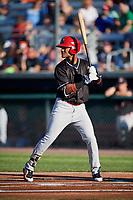 Batavia Muckdogs center fielder Ricardo Cespedes (32) at bat during a game against the Auburn Doubledays on June 15, 2018 at Falcon Park in Auburn, New York.  Auburn defeated Batavia 5-1.  (Mike Janes/Four Seam Images)